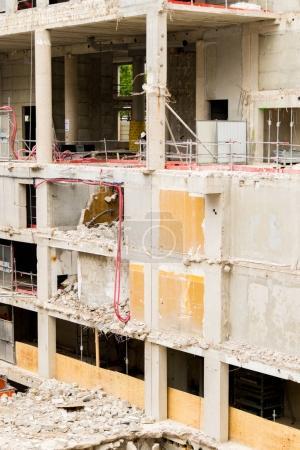 Demolition of high concrete building