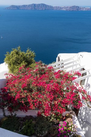 scenic view of Santorini caldera in Greece from the coast