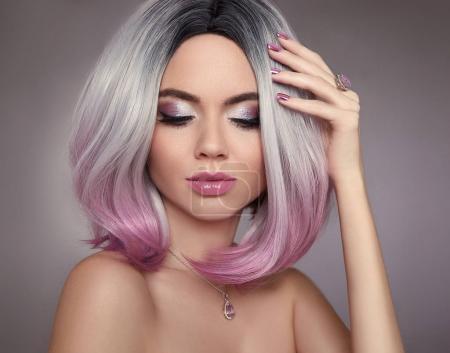 Ombre bob pink hair woman. Glitter Makeup. Manicure nails. Beaut