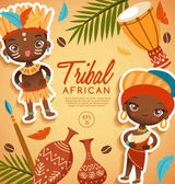 Tribal African traditional costumes : Vector Illustration