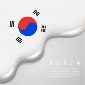 Vector illustration design of koea Flag on Creamy Liquid Dripping