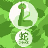 Set of Adorable Baby Animal with Chinese Meaning : Vector Illustration