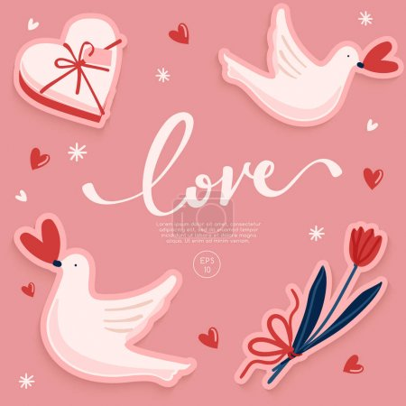 Illustration for Card Template design for Valentine's day : Vector Illustration - Royalty Free Image