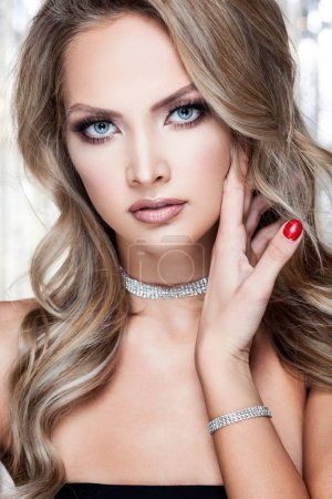 Jewelry on sparkling background