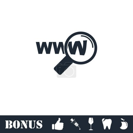 Website search icon flat. Vector illustration symb...