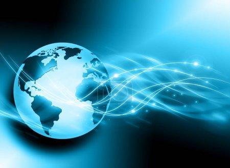 Photo pour Meilleur concept Internet. Globe, lignes lumineuses sur fond technologique. Électronique, Wi-Fi, rayons, symboles Internet, télévision, communications mobiles et par satellite. Illustration technologique, 3D - image libre de droit