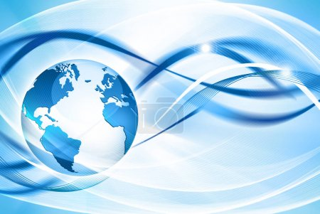Photo for Best Internet Concept. Globe, glowing lines on technological background. Electronics, Wi-Fi, rays, symbols Internet, television, mobile and satellite communications. Technology illustration, 3D - Royalty Free Image