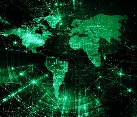 Photo pour Carte mondiale sur un contexte technologique, les symboles de lignes rougeoyante de l'Internet, la radio, la télévision, mobile et les communications par satellite. Concept d'Internet des affaires. - image libre de droit
