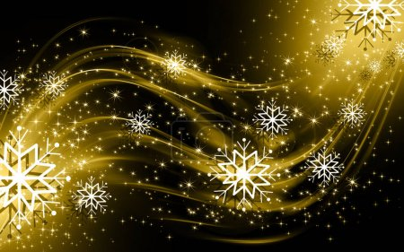 Photo for Snowflakes and stars golden shining descending on background - Royalty Free Image