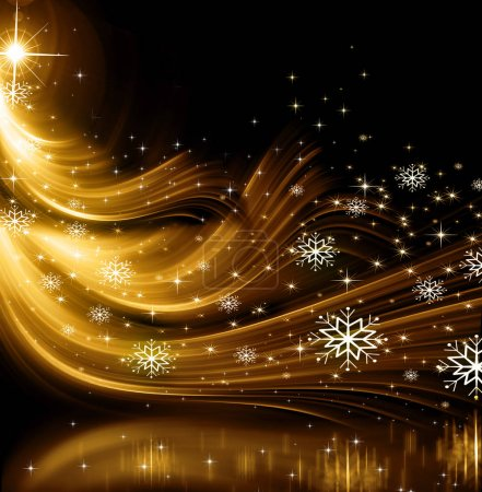 Photo for Christmas gold Tree, beautiful lights, stars and snowflakes - Royalty Free Image