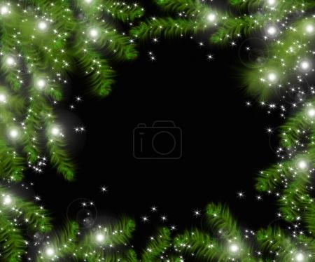 Christmas tree branches and space for text. Realistic fir-tree border, frame isolated on black