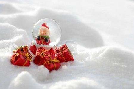 Vintage Christmas card with snowman and Christmas balls