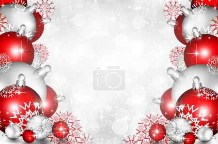 Red Christmas background with balls