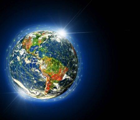Photo pour Terre de l'espace. Meilleur concept Internet des affaires mondiales de la série de concepts. Éléments de cette image fournis par la NASA. Illustration 3D. Symbole de voyage, internet, technologie et communication - image libre de droit