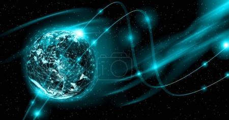 Foto de Tierra desde el espacio. Internet mejor concepto de negocio global de la serie de conceptos. Elementos de esta imagen proporcionada por la Nasa. Ilustración 3D. Símbolo de viaje, internet, tecnología y comunicación - Imagen libre de derechos