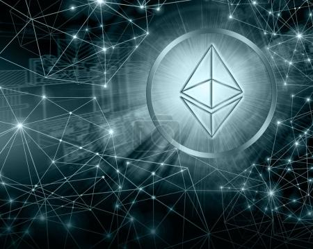 Digital currency Ethereum, futuristic digital money, Internet Concept of global business.Technological background