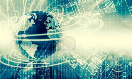 Photo for Best Internet Concept. Globe, glowing lines on technological background. Electronics, Wi-Fi, rays, symbols Internet, television, mobile and satellite communications. Technology 3D illustration - Royalty Free Image