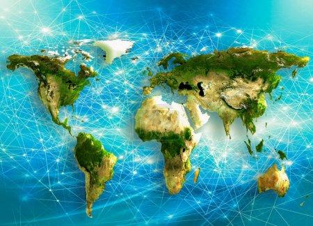 Photo pour Illustration de carte monde physique. Principale source et des éléments de cette image fournie par la Nasa - image libre de droit