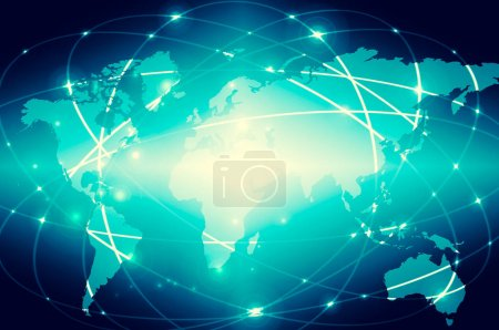 World map on a technological background, glowing lines symbols o