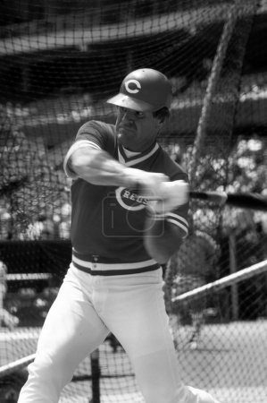 Pete Rose of the Cincinnati Reds in the batting cage.