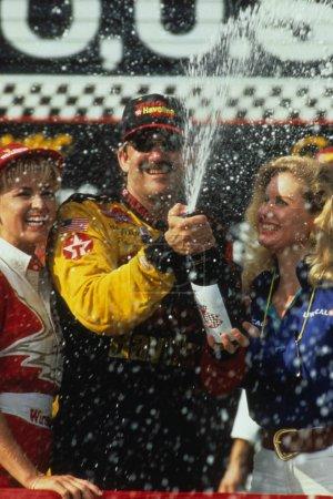 Dale Earnhardt NASCAR Driver celebrating his race victory