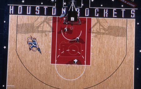 NBA BASKETBALL GAME ACTION OVERHEAD VIEW