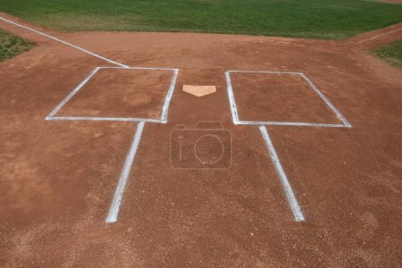Baseball batters box at home plate before the start of the of a Baseball game. The game was played in Queen Creek Arizona.