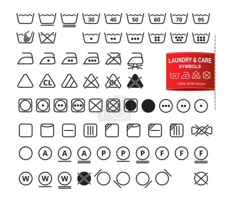 Illustration for Icon set of laundry symbols in modern thin line flat design style. Clothing washing, bleaching, drying, ironing, cleaning pictograms. Garment care labels vector eps8 illustration. - Royalty Free Image