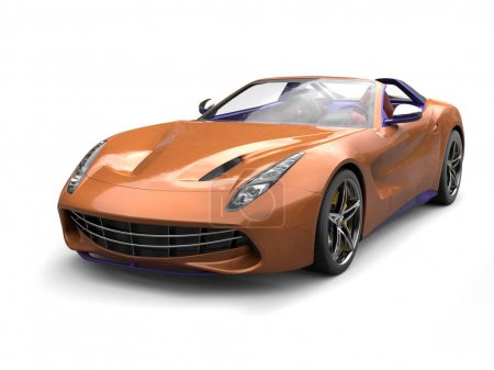 Orange gold modern sports car with purple details ...