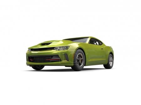 Metallic olive green modern fast car - front view - 3D Illustration