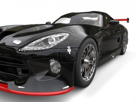 Photo pour Supercar noir avec des détails rouges - projecteur extrême gros plan - Illustration 3D - image libre de droit