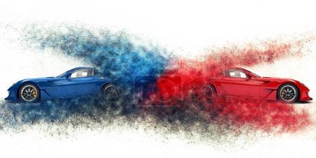 Photo pour Voitures de sport impressionnantes rouges et bleues explosion de particules - image libre de droit