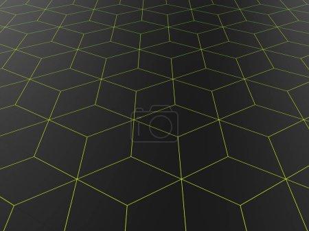 Photo pour Fond polygonal abstrait foncé - formes de ligne vert vif - image libre de droit