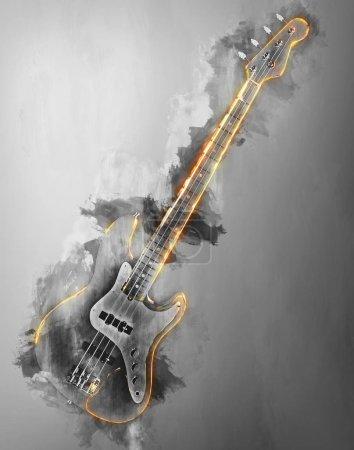Photo pour Hard rock guitare basse - abstract illustration noir et blanche - image libre de droit