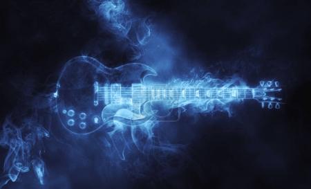 Photo pour Guitare hard rock impressionnante sous forme de fumée - image libre de droit