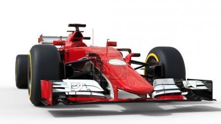 Photo for Red modern formula racing car - front view low angle shot - Royalty Free Image