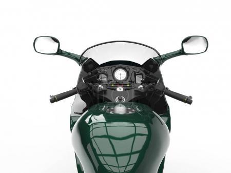 Photo pour Noir vert moderne moto - rider point de vue - image libre de droit
