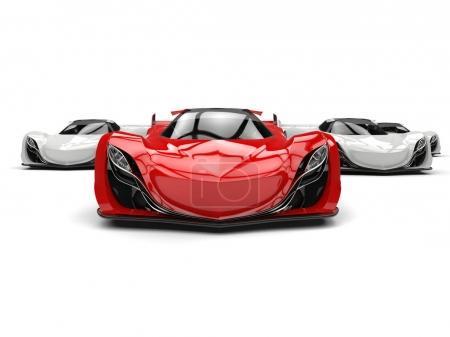 Photo pour Concept futuriste rouge cramoisi voiture de sport - image libre de droit