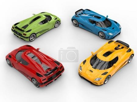 Círculo de coches súper concepto colorido impresionante