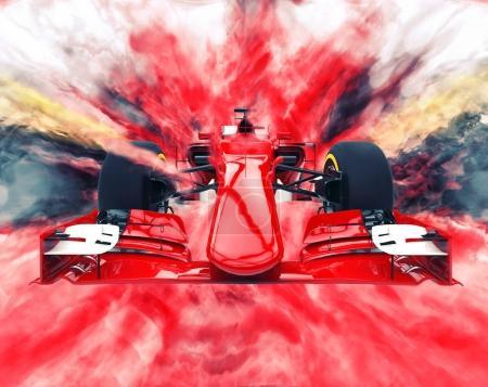 Photo pour Formule rouge une voiture - explosion de couleur - image libre de droit