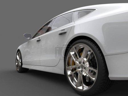 Photo pour Voiture propre modern business blanc - roue arrière closeup shot - image libre de droit