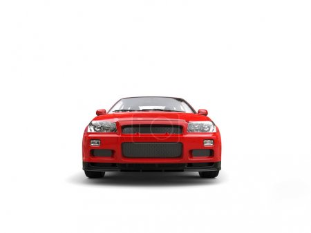 Photo for Modern scarlet red sporty urban city car - front view - Royalty Free Image