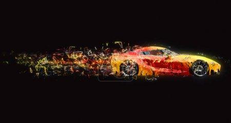 Photo pour Super voiture rapide - effet piste polygone - image libre de droit