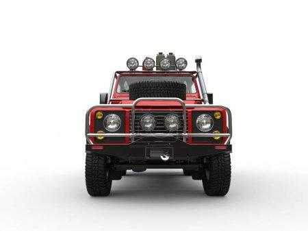Photo pour Rouge off véhicule routier avec tous les équipements - vue de face - image libre de droit