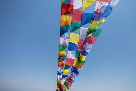 Prayer flag mountain near Namobuddha monastery.