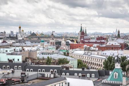 Toit vue aérienne du centre-ville de Moscou .