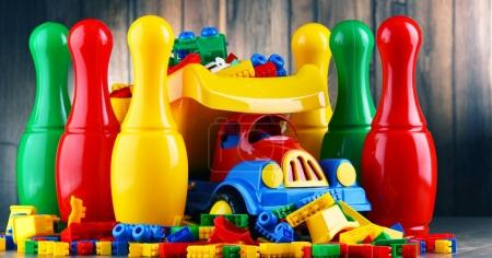 Colorful plastic toys in children's room