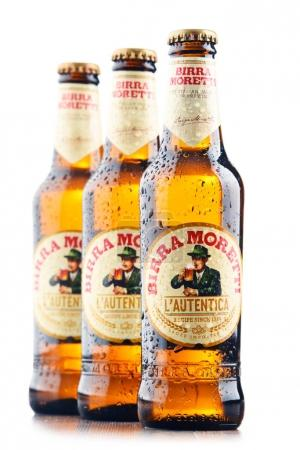 Three bottles of Birra Moretti