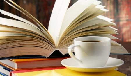 Composition with books and cup of coffee