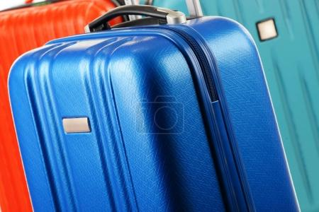 Plastic travel suitcases. Hand luggage